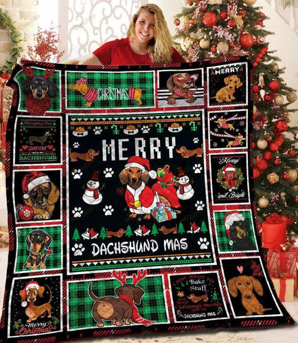 Dachshund Christmas  Blanket - Gift for Birthday, Christmas - Merry Dachshund Mas
