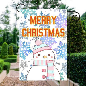 MERRY CHRISTMAS Snowman Flag, Outdoor Christmas Decor - Garden flag house flag