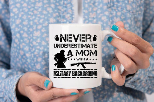 Mothers day White Mug - Gift for veteran mom from daughter and son - A mom with a military background mug