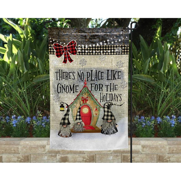 Christmas Garden Flag -  There's no place like Gnome for the holidays - Garden flag house flag