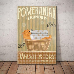 Pomeranian Dog Laundry Company Canvas  - Wash and dry - Anniversary Birthday Christmas Housewarming Gift Home