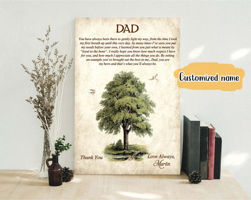 Personalized Fathers Day Canvas - To My Dad From Son and Daughter, Fathers Day Gift For Dad, Birthday Gift for Dad, Poem For Dad, Happy Fathers Day Canvas, Memorial Canvas