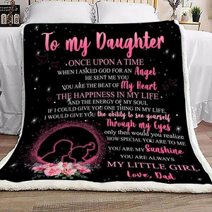 Blanket - Father and daughter - Gift for birthday, christmas - You are the beat of my heart, the happiness in my life