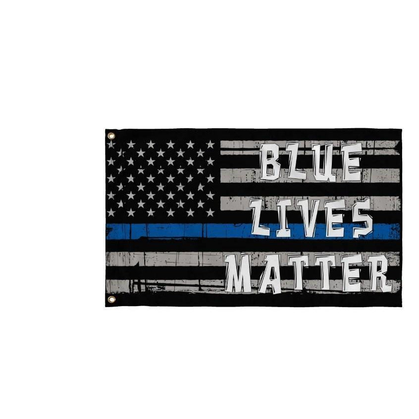 BLUE LIVES MATTER THIN BLUE LINE AMERICAN FLAG - Garden Flag