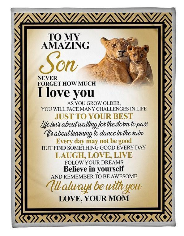 Lion blanket - Gift for son - To my amazing son Nver forget how much I love you Blanket