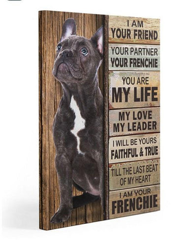 Frenchie Partner Gallery Wrapped Canvas Prints - French bulldog canvas