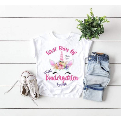 First Day Of Kindergarten Shirt , First Day Of Virtual Kindergarten Shirt , Personalized First Day Of Kindergarten Shirt , Back To School - Family Presents - Great Blanket, Canvas, Clothe, Gifts For Family