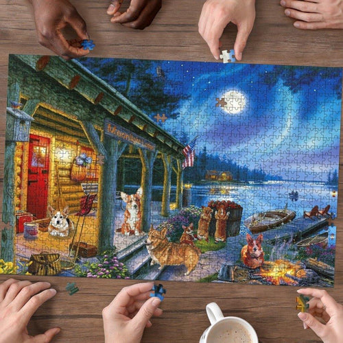 Corgi Moonlight Lodge Jigsaw Puzzle - Family Presents - Great Blanket, Canvas, Clothe, Gifts For Family