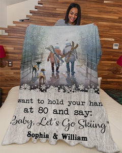 Personalized Blanket - Skiing I Want To Hold Sherpa Fleece Blanket - Couple gift - Valentine gift for husband/wife