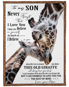 To My Son Blanket -  This Old Giraffe Will Always Have Your Back - Blanket Gift For Son From Mom- Birthday Gift For Son - Family Presents - Great Blanket, Canvas, Clothe, Gifts For Family