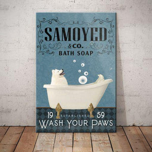 Samoyed Dog Bath Soap Company Canvas - Wash your paws - Anniversary Birthday Christmas Housewarming Gift Home - Family Presents - Great Blanket, Canvas, Clothe, Gifts For Family