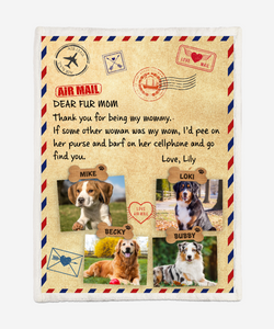 Personalized Blanket - Dear Fur Mom - Air mail Dogs - Anniversary Birthday Christmas Housewarming Gift Home