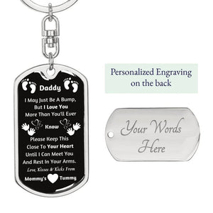 Personalized Silver Dog Tag Keychain, New Dad Gift, Daddy Gift From Unborn Baby, New Dad Gift From Wife, Baby Bump Gift, New Dad Gift Idea