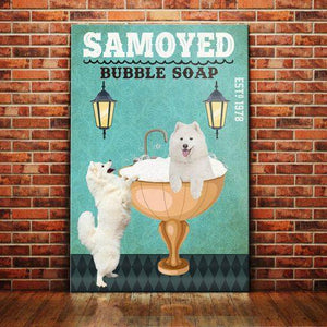 Samoyed Dog Bubble Soap Company Canvas - Anniversary Birthday Christmas Housewarming Gift Home - Family Presents - Great Blanket, Canvas, Clothe, Gifts For Family