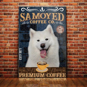 Samoyed Dog Coffee Company Canvas - Premium Coffee - Anniversary Birthday Christmas Housewarming Gift Home - Family Presents - Great Blanket, Canvas, Clothe, Gifts For Family