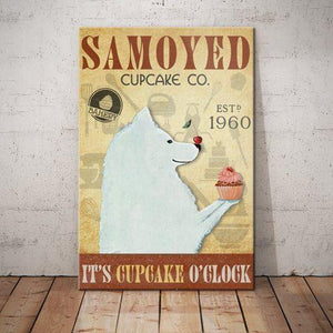 Samoyed Dog Cupcake Company Canvas  - It's cupcake 0'clock - Anniversary Birthday Christmas Housewarming Gift Home - Family Presents - Great Blanket, Canvas, Clothe, Gifts For Family