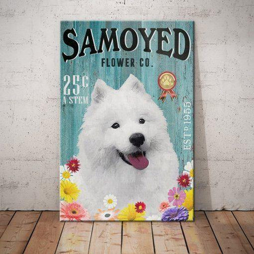 Samoyed Dog Flower Company Canvas - Anniversary Birthday Christmas Housewarming Gift Home - Family Presents - Great Blanket, Canvas, Clothe, Gifts For Family