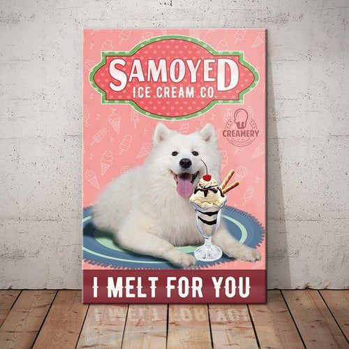 Samoyed Dog Ice Cream Company Canvas - I melt for you - Anniversary Birthday Christmas Housewarming Gift Home - Family Presents - Great Blanket, Canvas, Clothe, Gifts For Family