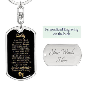 "Daddy To Be ""Little Heart"" W. Engraving Keychain 