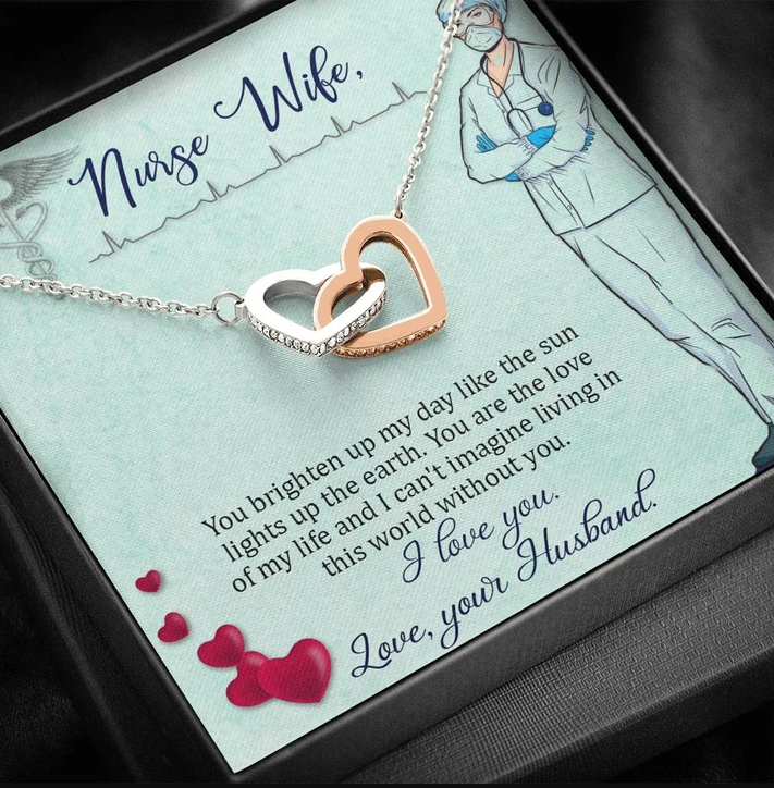 Interlocking Hearts Necklace - Valentine gift for my nurse wife - You brighten up my day like the sun lights up the earth