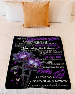 Fleece Blanket - Blanket for grandddaughter - Gift from grandma - Birrthday, Christmas, graduation gift - Enjoy your ride and never forget your way comeback home