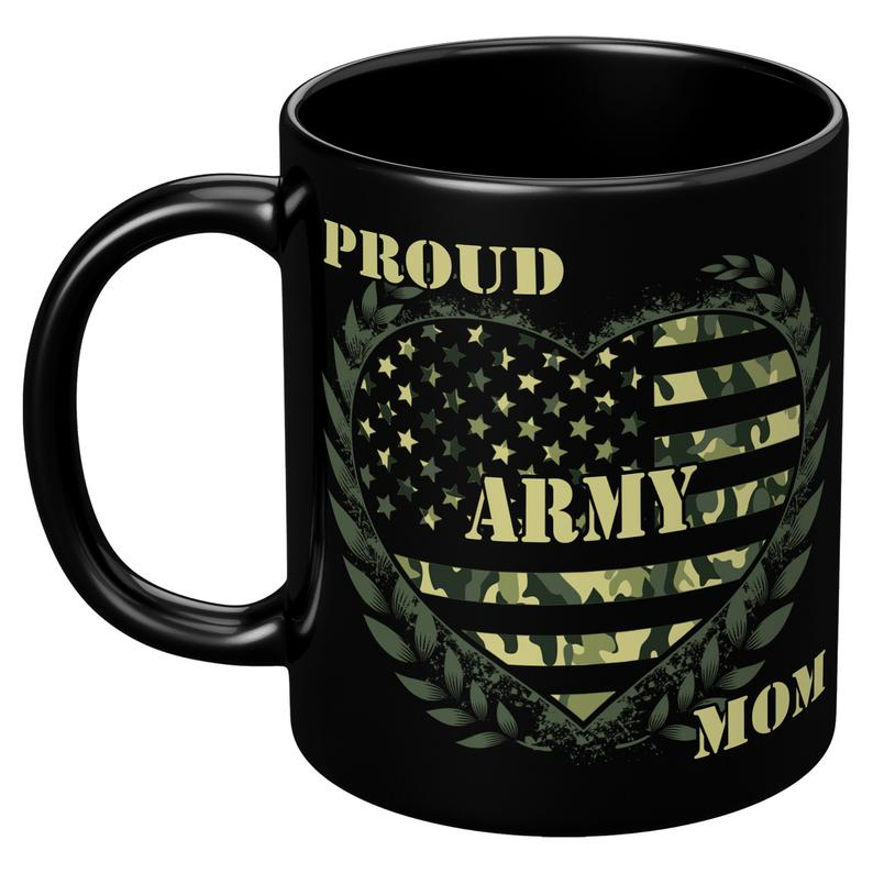 Mothers day Black Mug - Gift for veteran mom from daughter and son - Proud army mom mug