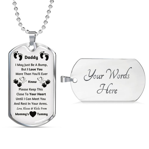 Personalized Silver Pendant Necklace, New Dad Gift, Daddy Gift From Unborn Baby, New Dad Gift From Wife, Baby Bump Gift, New Dad Gift Idea
