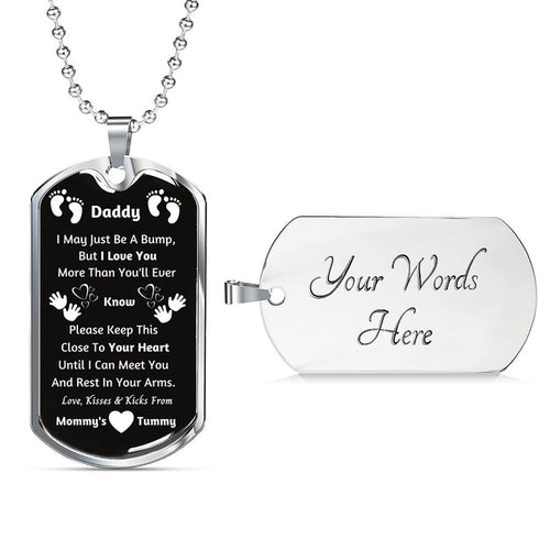 Personalized Silver Pendant Necklace, New Dad Gift - Daddy Gift From Baby, New Dad Gift From Wife, Baby Bump Gift, New Dad Gift Idea