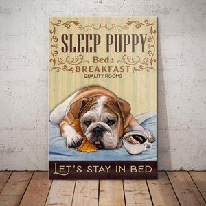 Bulldog Bedroom Canvas - Let's stay in bed - Anniversary Birthday Christmas Housewarming Gift Home