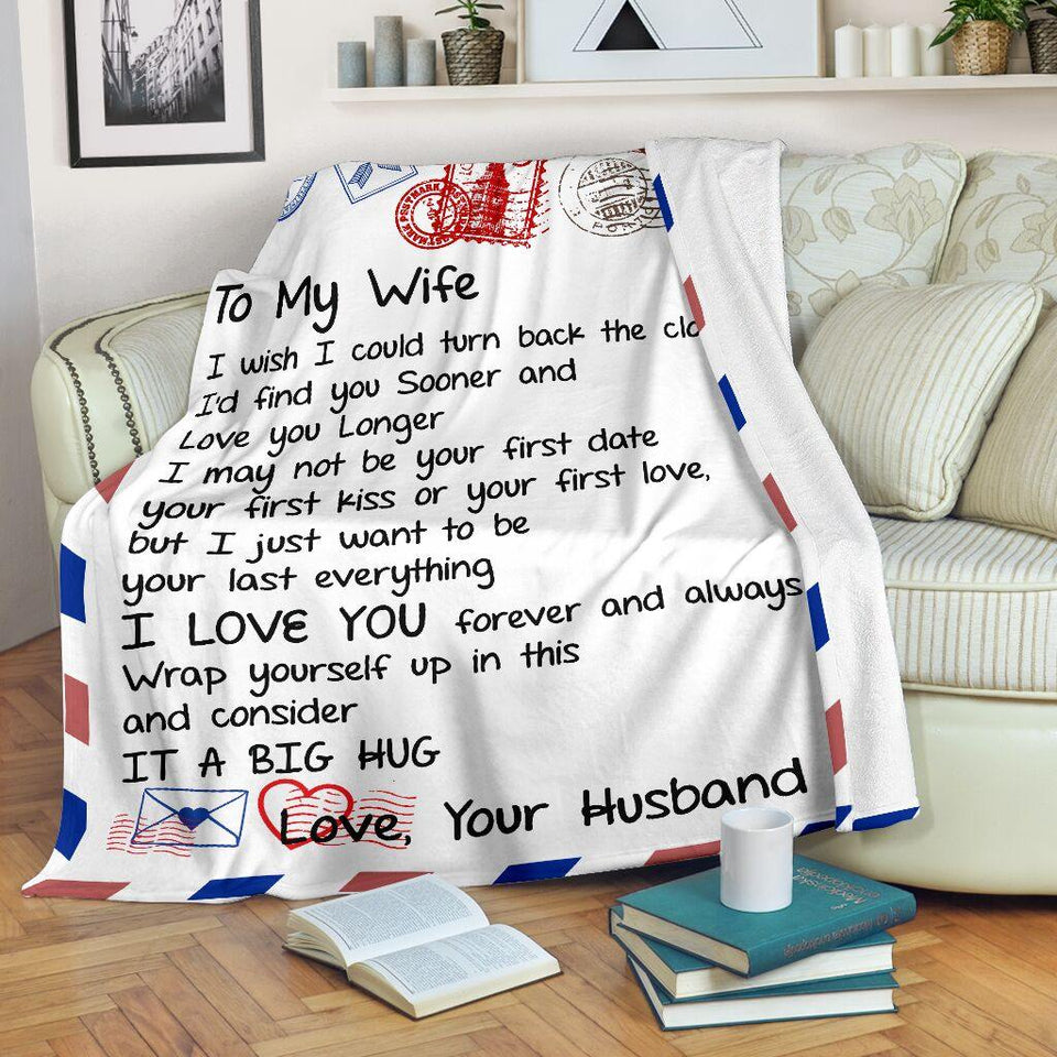 Fleece Blanket - Letter Blanket, Message Blanket - To my WIFE, Gift for her - Anniversary gift, Birthday gift, Christmas gift - I wish I could turn back the clock I'd find you sooncer