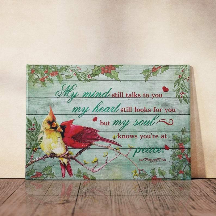 Memorial Canvas Wall Art - My Soul Knows You're At Peace, Cardinal Canvas - Cardinal bird art, framed wall art, bedroom wall décor