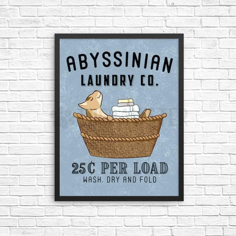 Abyssinian Cat Canvas Wall Art - Abyssinian Laundry Sign, Cat Laundry Room Decor, Wash Dry Fold Wall Art Print, Farmhouse Sign, Vintage Laundry Co Wall Decor - Anniversary Birthday Christmas Housewarming Gift Home