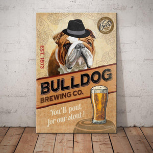Bulldog Brewing Company Canvas - Anniversary Birthday Christmas Housewarming Gift Home