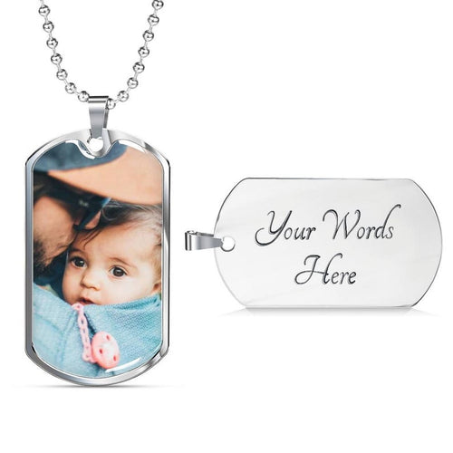 Personalized Photo Father's Day Gift Necklace, Gift For New Dad From Unborn Baby, Baby Bump Gift
