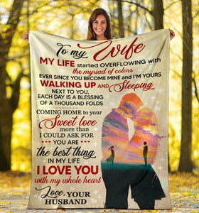 TO MY WIFE BLANKET - I LOVE YOU WHOLE MY HEART - VALENTINE GIFT FOR WIFE FROM HUSBAND, VALENTINE GIFT FOR COUPLE