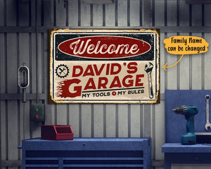 Personalized Garage Welcome Canvas, Fathers Day Gift For Dad, Happy Fathers Day Canvas, Birthday Gifts, Men's Garage Sign, Garage Decoration