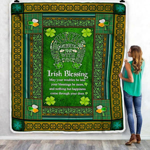 Patrick's Day Blanket, Lucky Clover Shamrock Irish Blessing Blanket, Gifts For Daughter, Granddaughter From Mom, Dad, Grandma, Grandpa