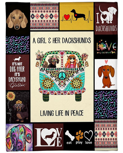 Dachshund Dog Blanket A Girl & Her Dachshunds Living Life In Peace Fleece Blanket