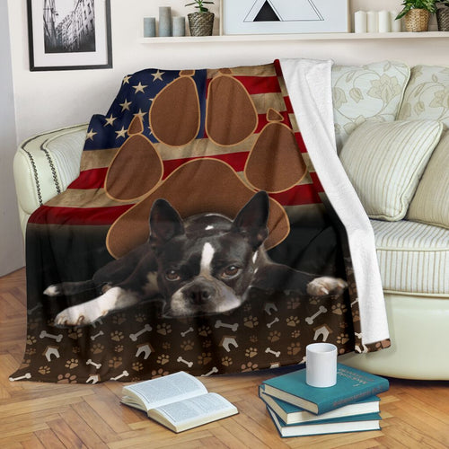 Boston Terrier Choco Brown Fleece Blanket