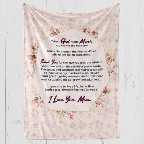 Blanket for Best Mom - Gift for Mom -When God made Moms he gave me the best one - Birthday, Christmas, Anniversary