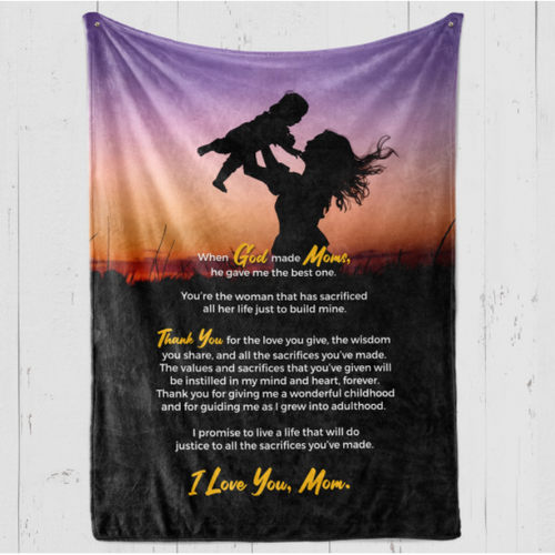 Blanket for Best Mom - Gift for Mom -I love you, Mom - Birthday, Christmas, Anniversary