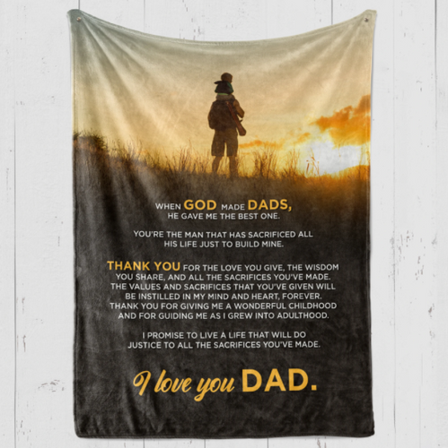 Dad Blanket - Gift for Dad - When God made Dads, he gave me the best one - Birthday, Christmas, Anniversary - Family Presents - Great Blanket, Canvas, Clothe, Gifts For Family