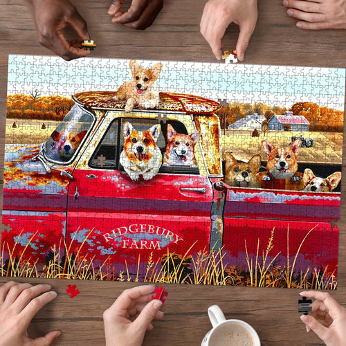 Corgi Farm Truck - Puzzle dog - Family Presents - Great Blanket, Canvas, Clothe, Gifts For Family