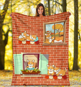 Corgi House Blanket - Gift For Son/daughter - Christmas, Birthday Gift - Family Presents - Great Blanket, Canvas, Clothe, Gifts For Family