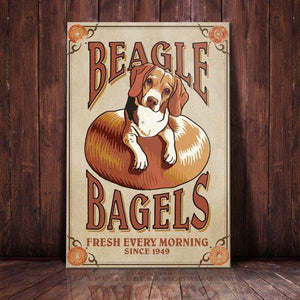 Beagle Dog Bagel Company Canvas