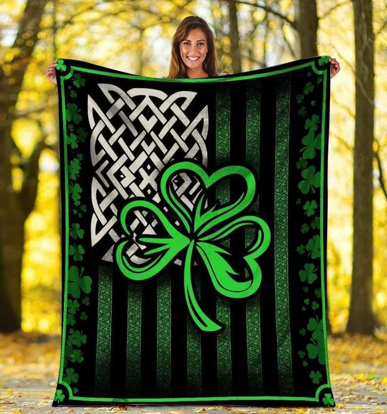 St Patrick's Day Blanket, Irish Celtic Blanket, Gift For Irish Blanket, Irish Shamrock Blanket, Lucky Irish Fleece Blanket - Family Presents - Great Blanket, Canvas, Clothe, Gifts For Family