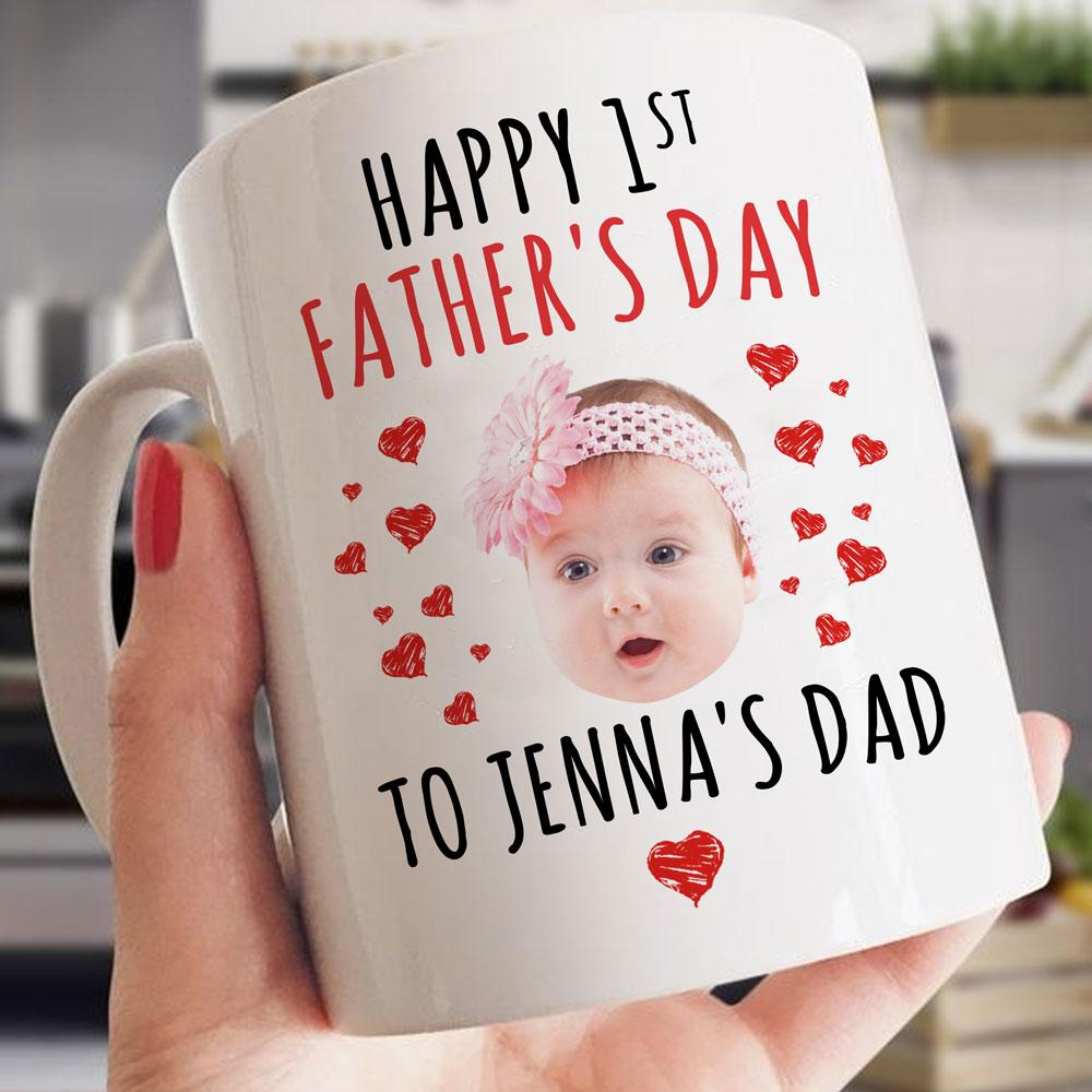 Personalized Fathers Day Mug, Gift For Dad, Happy 1st Father's Day Mug, Custom Name And Face's Photo