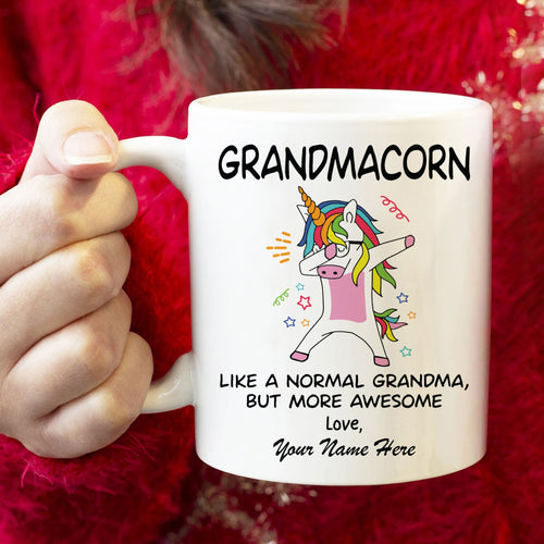 Mothers Day Mug  Personalized Mother'S Day Gift For Grandma White Mug, Grandmacron, Unicorn Grandmother