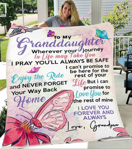 To My Granddaughter Love Your Grandma Butterfly Blanket