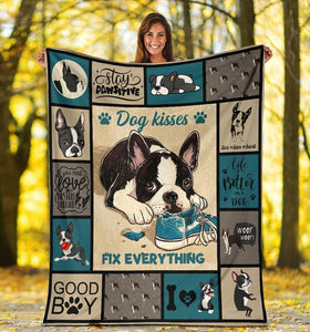 Dog Blanket Dog Kisses Fix Everything Boston Terrier Dog Fleece Blanket - Family Presents - Great Blanket, Canvas, Clothe, Gifts For Family